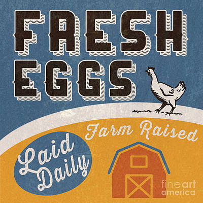 Signed Mixed Media - Fresh Eggs Laid Daily Retro Farm Sign by Edward Fielding