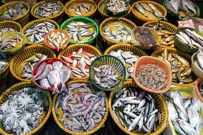 Photograph - Fresh Fish And Seafood Market Stall Display In Xiamen China  by Jacek Malipan