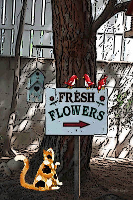 Birdhouse Mixed Media - Fresh Flowers by Arline Wagner