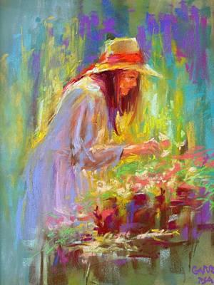 Pastel - Fresh Flowers by David Garrison