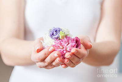 Sensitive Photograph - Fresh Flowers In Woman Hand by Michal Bednarek