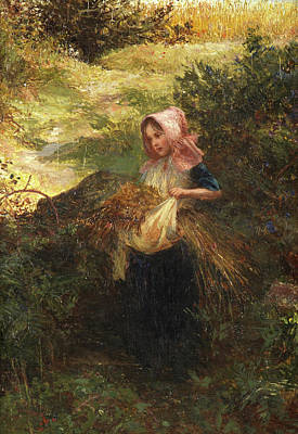 Farm Girl Painting - Fresh From The Meadow, 1863 by Charles James Lewis