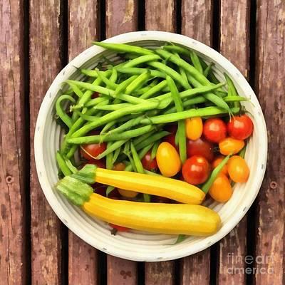Green Beans Painting - Fresh Garden Veggies by Edward Fielding