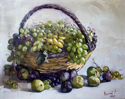 Grape Wall Art - Painting - Fresh Grapes And Figs From Lida's Garden by Ylli Haruni
