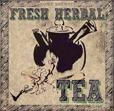 Mixed Media - Fresh Herbal Tea by Lita Kelley