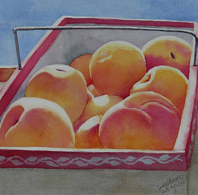 Painting - Fresh Peaches by Judy Mercer