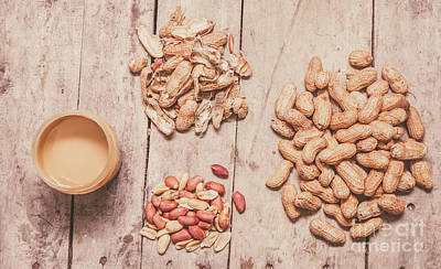 Food And Beverage Royalty-Free and Rights-Managed Images - Fresh peanuts, shells, raw nuts and peanut butter by Jorgo Photography - Wall Art Gallery