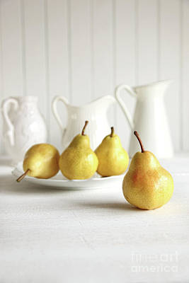 Fresh Pears On Old Table Art Print by Sandra Cunningham