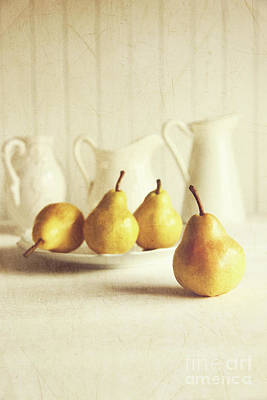 Fresh Pears On Old Wooden Table Art Print by Sandra Cunningham