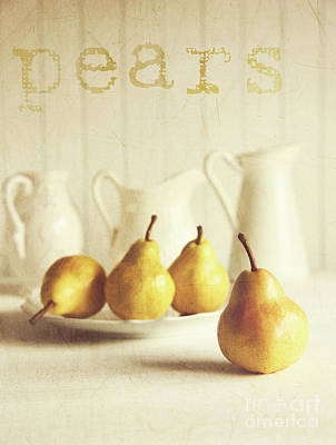 Fresh Pears On Old Wooden Table With Vintage Feeling Print by Sandra Cunningham
