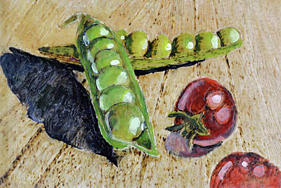 Mixed Media - Fresh Peas And Cherry Tomatoes by Zilpa Van der Gragt