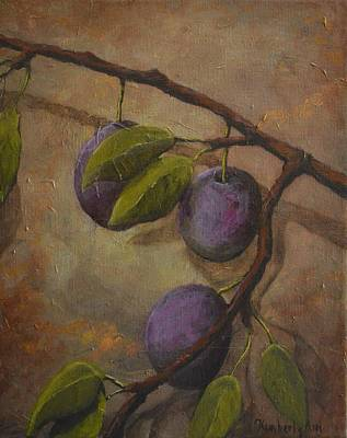 Fruit Tree Art Painting - Fresh Plums by Kimberly Benedict