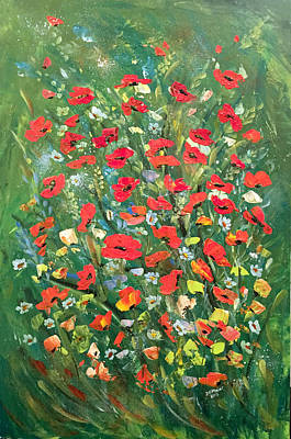 Painting - Fresh Poppies From The Garden by Dorothy Maier