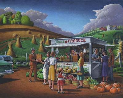 Fresh Produce - Roadside Produce Stand - Vegetables - Fruit Art Print