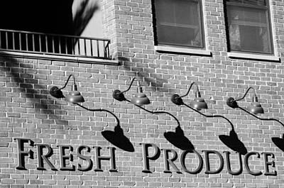 Photograph - Fresh Produce Signage Black And White by Jill Reger