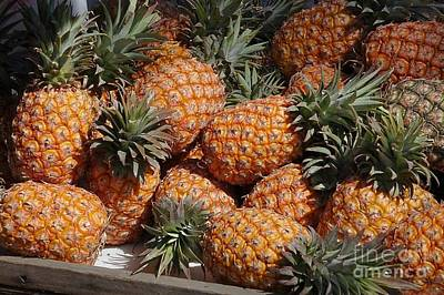 Photograph - Fresh Ripe Pineapples For Sale by Yali Shi