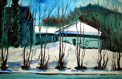 Winter Scenes Painting - Fresh Snow Double Matted by Charlie Spear