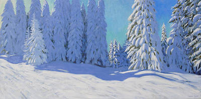 Piste Painting - Fresh Snow  Morzine  France by Andrew Macara