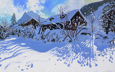 Piste Painting - Fresh Snow, Morzine Village by Andrew Macara