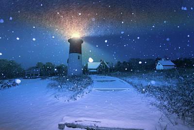 Photograph - Fresh Snow On Nauset Lighthouse by Dapixara Art