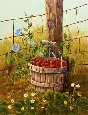 Painting - Fresh Strawberries And Morning Glories by B J Blair