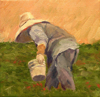 Asian Workers Painting - Fresh Strawberries by Tom Thomas