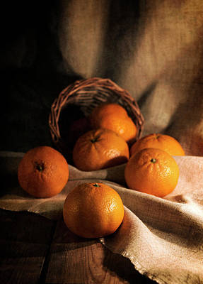 Art Print featuring the photograph Fresh Tangerines In Brown Basket by Jaroslaw Blaminsky