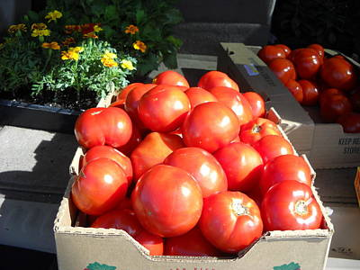 Photograph - Fresh Tomatoes At Farmers Market by Kent Lorentzen