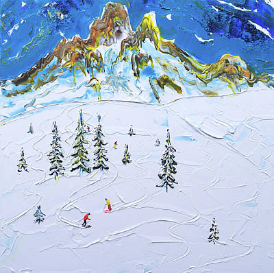 Painting - Fresh Tracks Below Saliure by Pete Caswell
