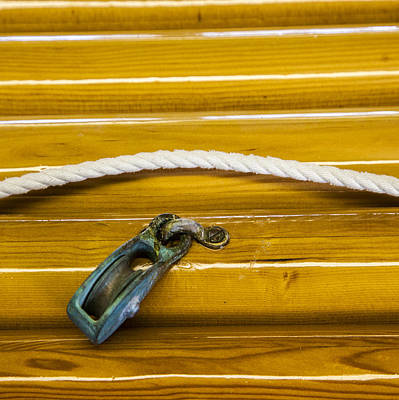 Photograph - Fresh Varnish On Old Spars With Rope And Pulley by Charles Harden