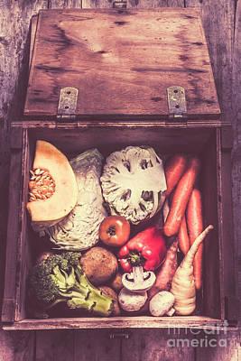 Cauliflower Wall Art - Photograph - Fresh Vegetables In Wooden Box by Jorgo Photography - Wall Art Gallery
