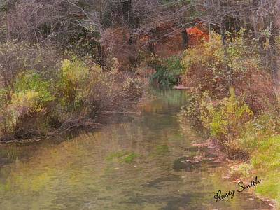 Digital Art - Fresh Water Stream Meandering Through Late Fall Foliage by Rusty R Smith