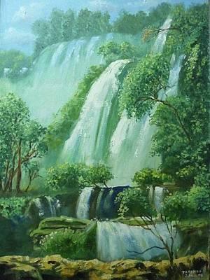 Painting - Fresh Waterfall by Wanvisa Klawklean