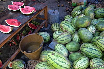 Fresh Watermelons For Sale Art Print by Sami Sarkis