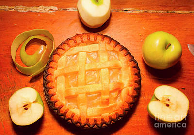 Food And Beverage Royalty-Free and Rights-Managed Images - Freshly Baked Pie Surrounded By Apples On Table by Jorgo Photography - Wall Art Gallery