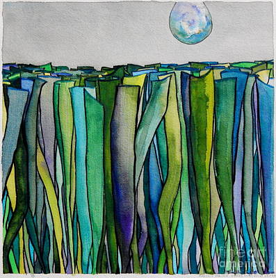 Painting - Freshly Mown Grass Raindrop Descending by Expressionistart studio Priscilla Batzell