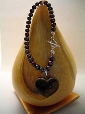 Tigereye Jewelry - Freshwater Pearl And Tigereye Heart Bracelet by Stephanie  Myers
