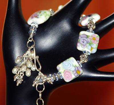 Sterling Silver Bracelet Jewelry - Freshwater Pearls Lampwork In Sterling Silver Bracelet by Nadina Giurgiu