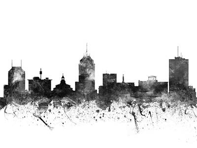 Skylines Drawing - Fresno California Cityscape 02bw by Aged Pixel
