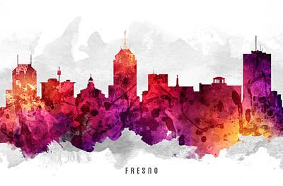 Fresno Painting - Fresno California Cityscape 14 by Aged Pixel