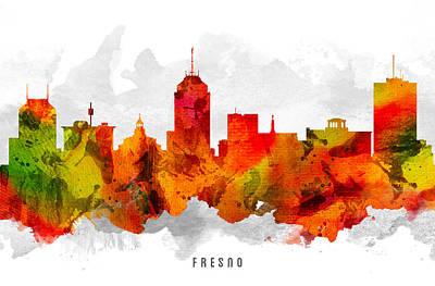 Fresno Painting - Fresno California Cityscape 15 by Aged Pixel