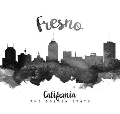 Fresno Painting - Fresno California Skyline 18 by Aged Pixel