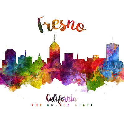 Fresno Painting - Fresno California Skyline 23 by Aged Pixel