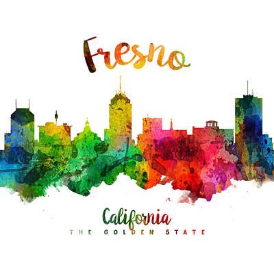 Fresno Painting - Fresno California Skyline 24 by Aged Pixel