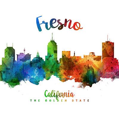 Fresno Painting - Fresno California Skyline 25 by Aged Pixel
