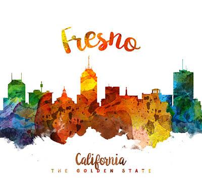 Fresno Painting - Fresno California Skyline 26 by Aged Pixel