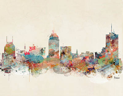 Painting - Fresno California Skyline by Bleu Bri
