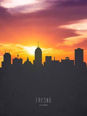 Fresno Painting - Fresno California Sunset Skyline 01 by Aged Pixel