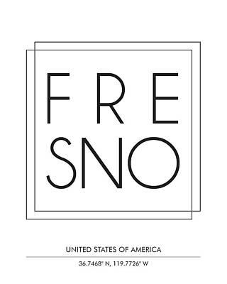Fresno City Print With Coordinates Art Print