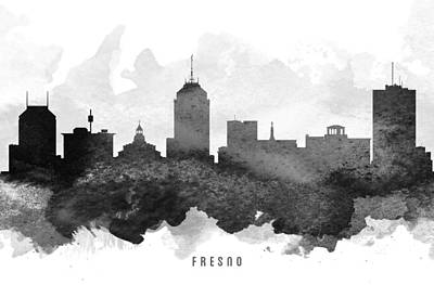 Towns Digital Art - Fresno Cityscape 11 by Aged Pixel
